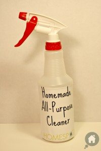 bottle of homemade all purpose cleaner