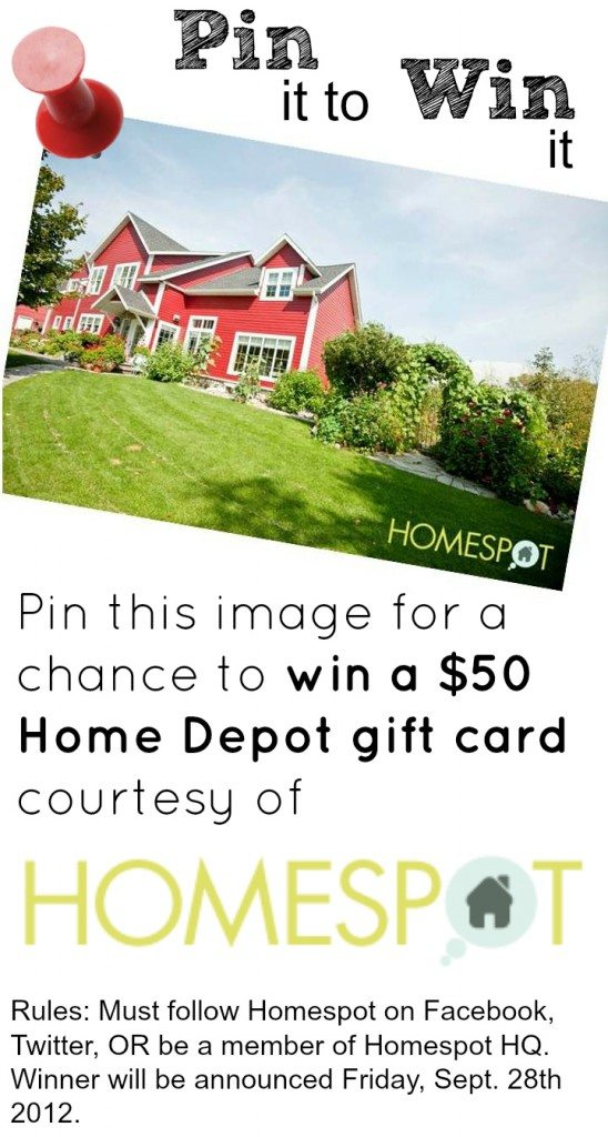 Pin it to win it Pinterest contest for Home Depot gift card