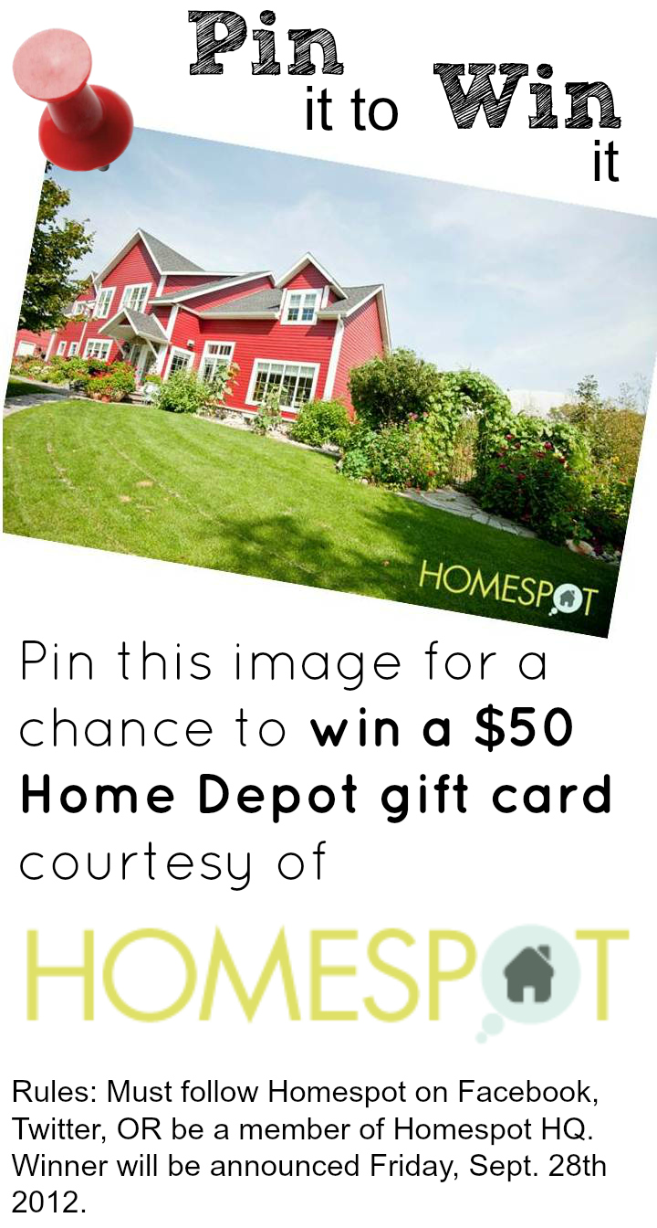 Pin it to Win it Contest: $50 Home Depot Gift Card