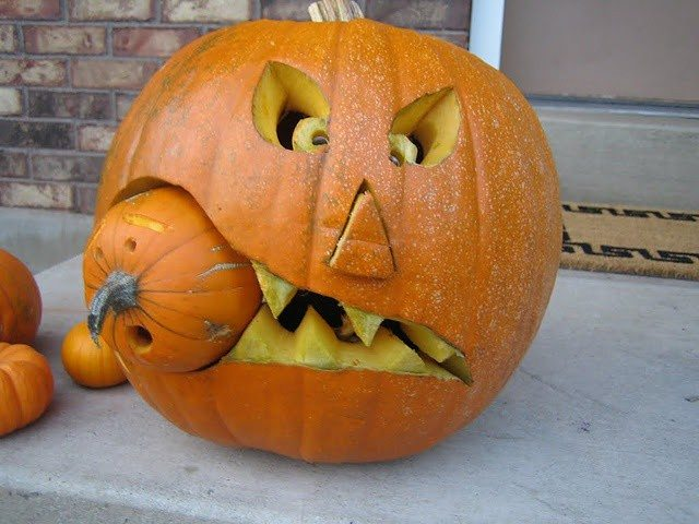 Pumpkin carving ideas - Extraordinary accessories for halloween decoration with pumpkin eating another pumpkin carving ...