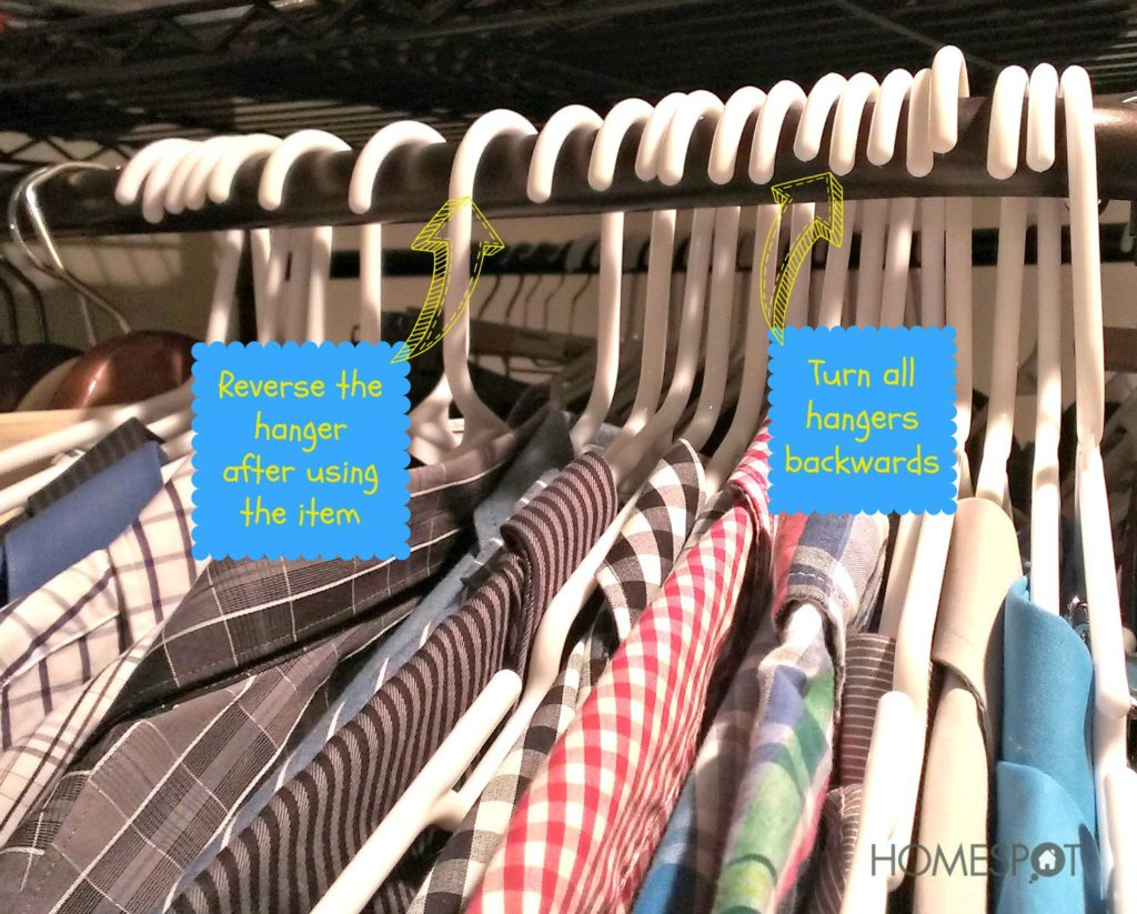 Donate any clothing items that are still on a reversed hanger at the end of the year.
