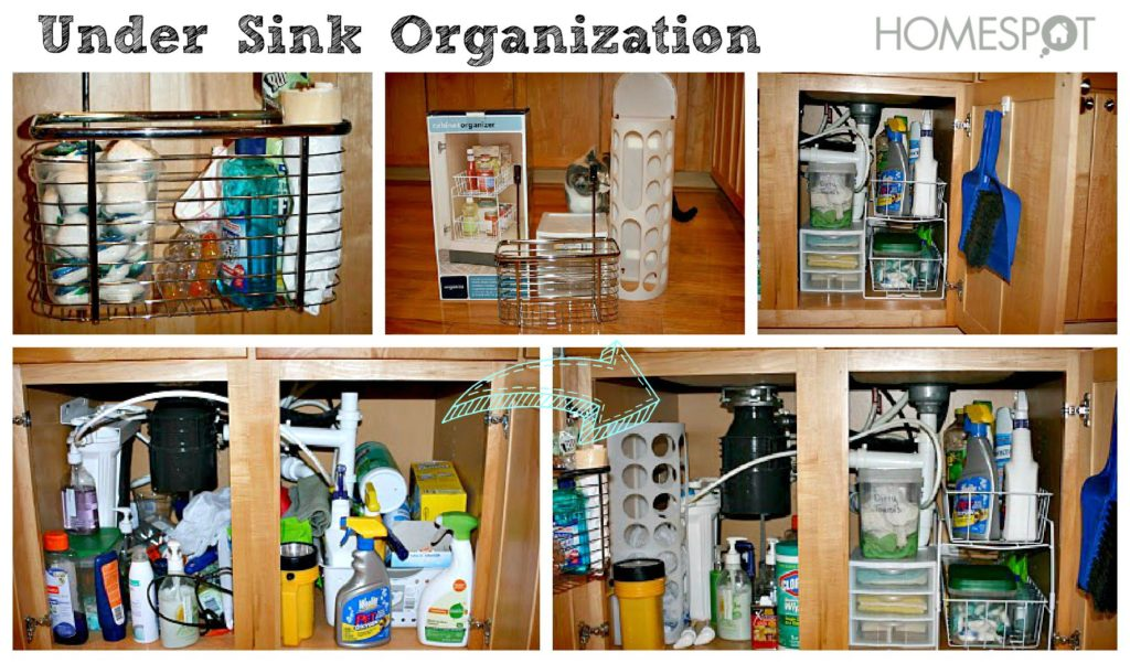Use organizers to increase space under the sink.