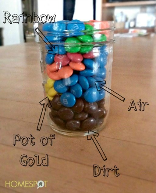 Rainbow pattern of M&M's in a mason jar
