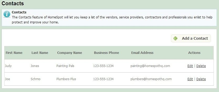 store all contractor contact info in a handy vendor list