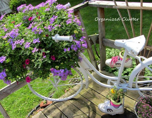 Bicycle upcycled into a flower planter