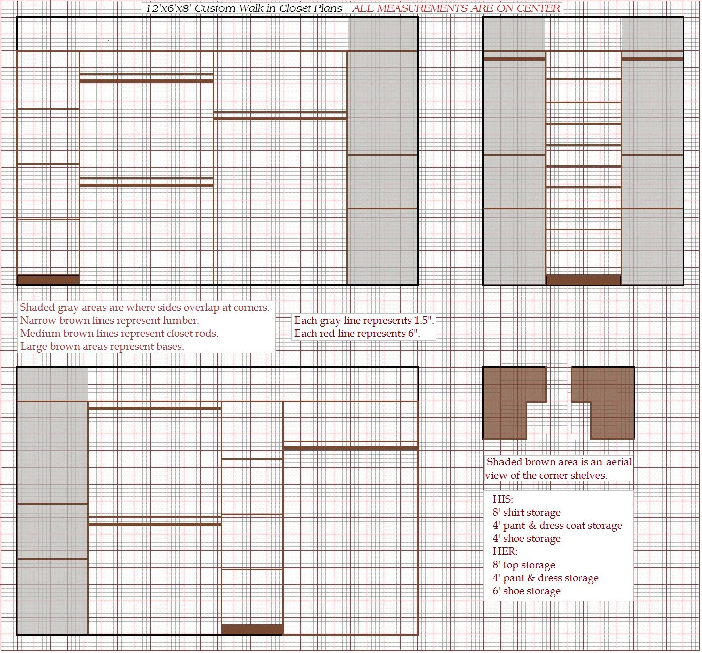 2 Graphed 12x6x8u0027 Walk In Closet Plans Complete