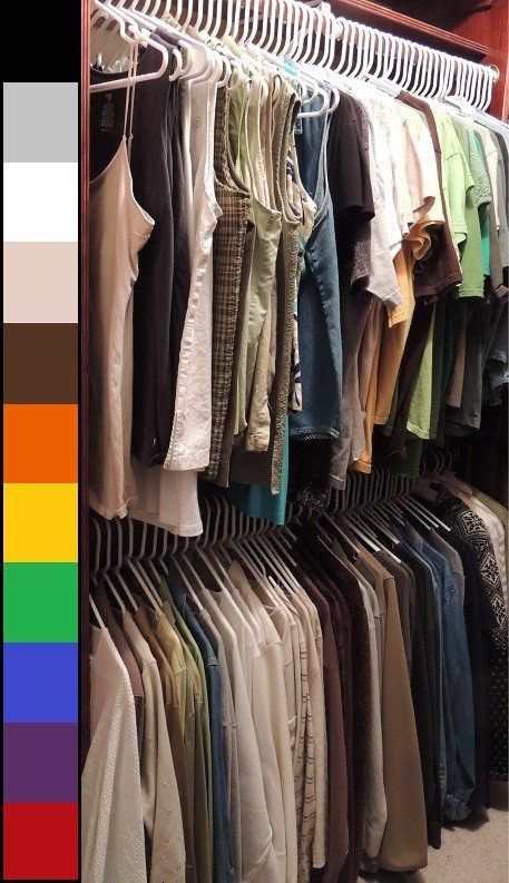 Master closet organization of tops by color with color chart