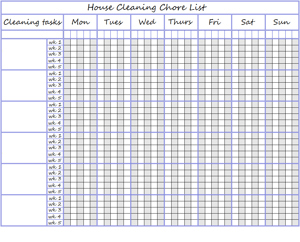adding a blank chart for printing and writing your own lists on ...