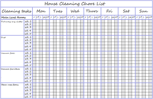 House Cleaning Chore List Main level rooms.