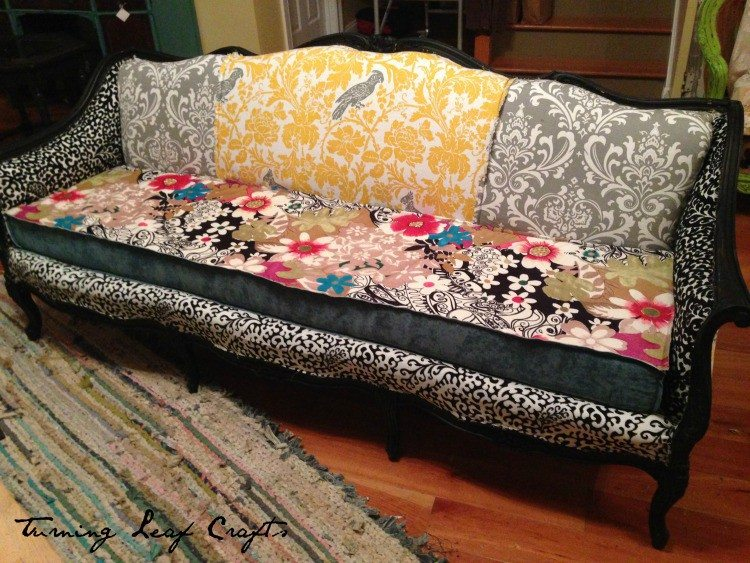 Old couch beatifully upcycled and given new life