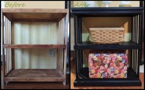 Before and After Little Plywood Shelf
