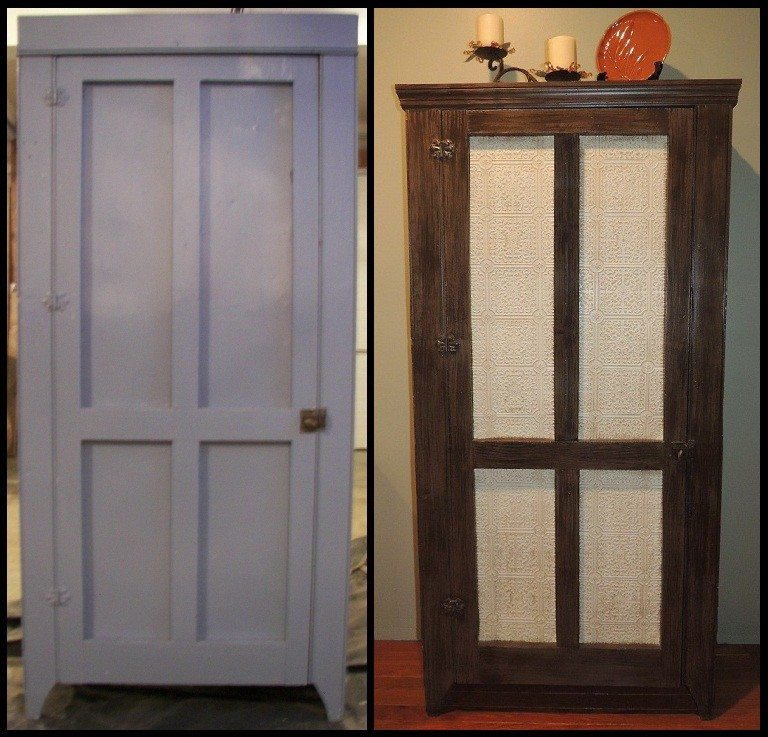 Faux Painting an Old Wood and Tin Pantry Cabinet