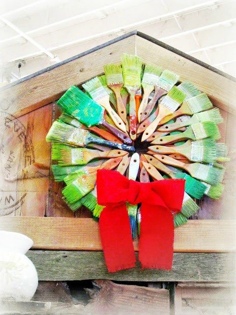 Wreath made from old paint brushes