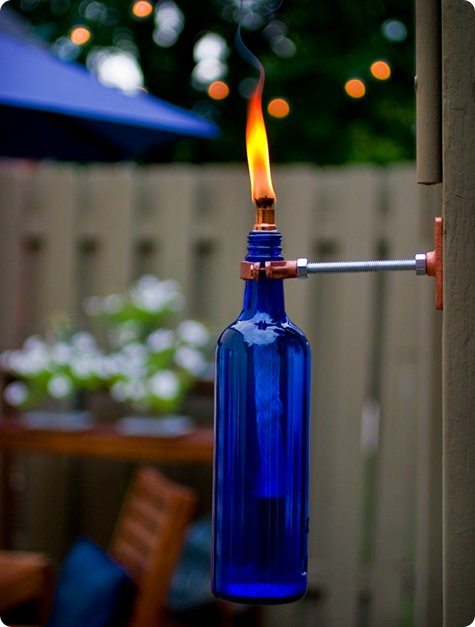 Wine bottle turned into a lovely torch