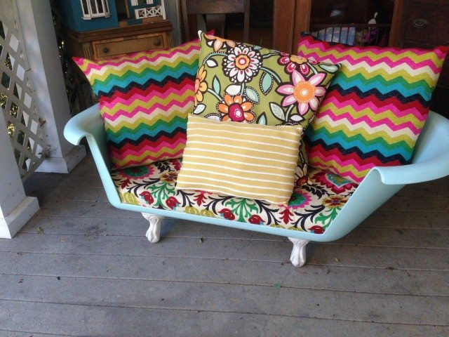 Cast iron tub upcycled into a couch