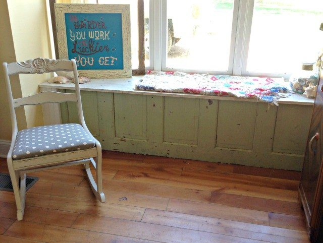 Window bench made from an upcycled door