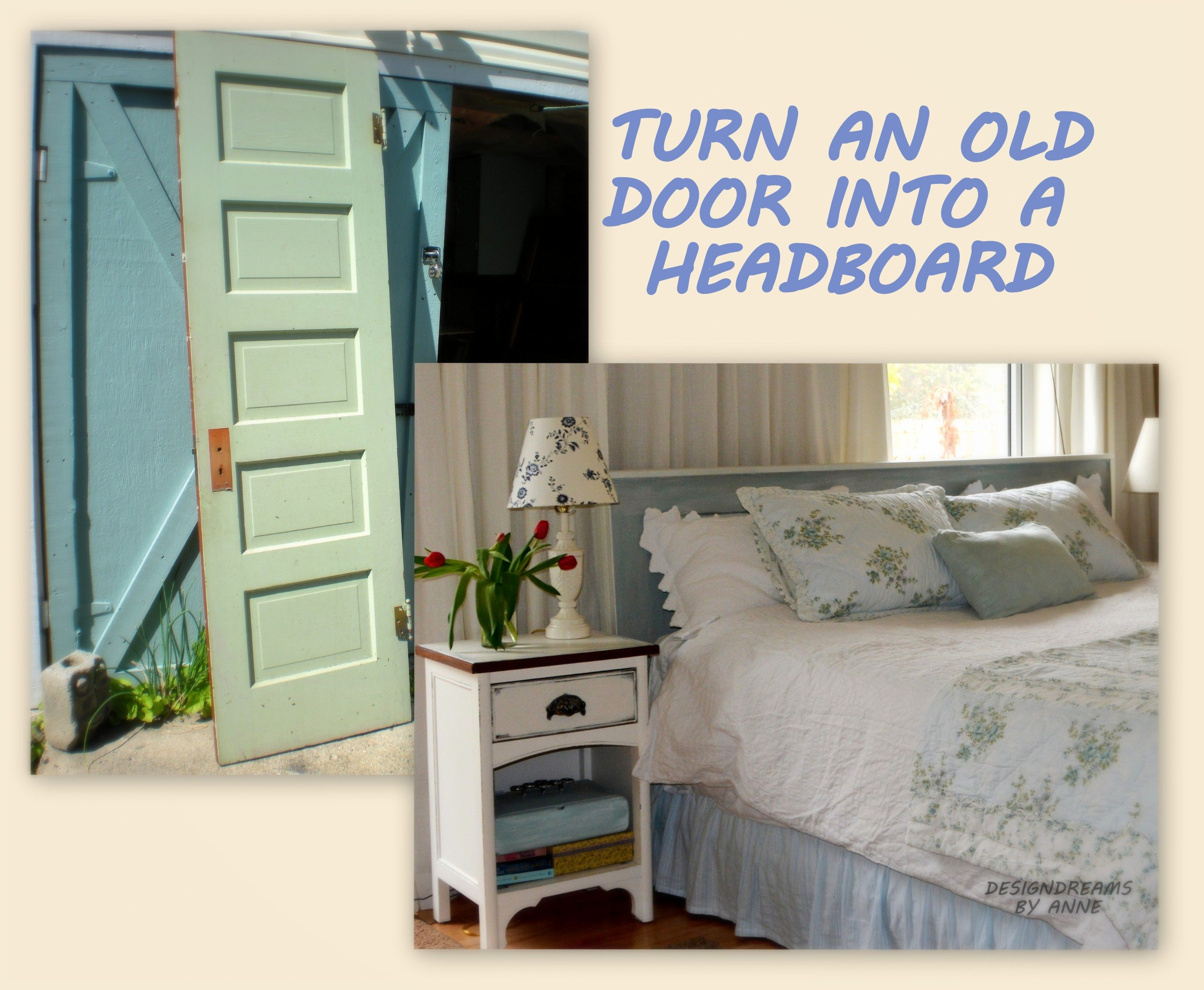 Build a headboard from an old door