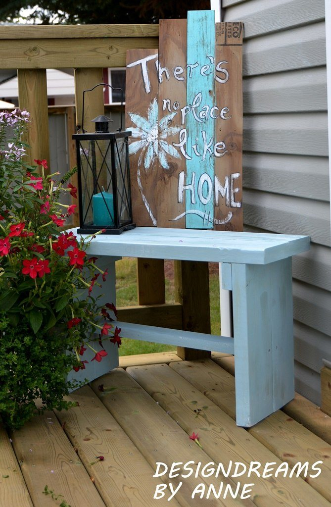 DIY painted rustic bench