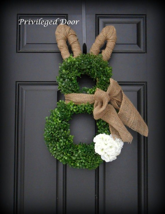 bunny shaped green and burlap wreath