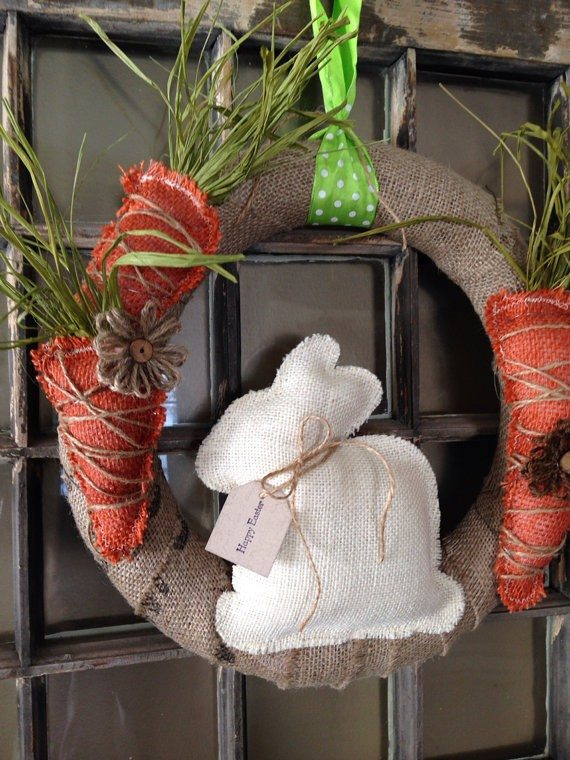 Burlap bunny and carrots wreath
