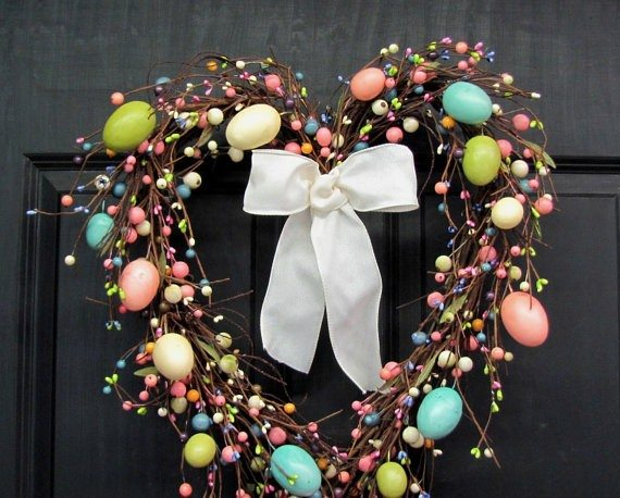 heart shaped twig and egg wreath