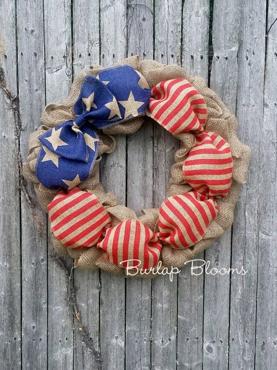 Burlap Wreath - 4th of July Decor Ideas