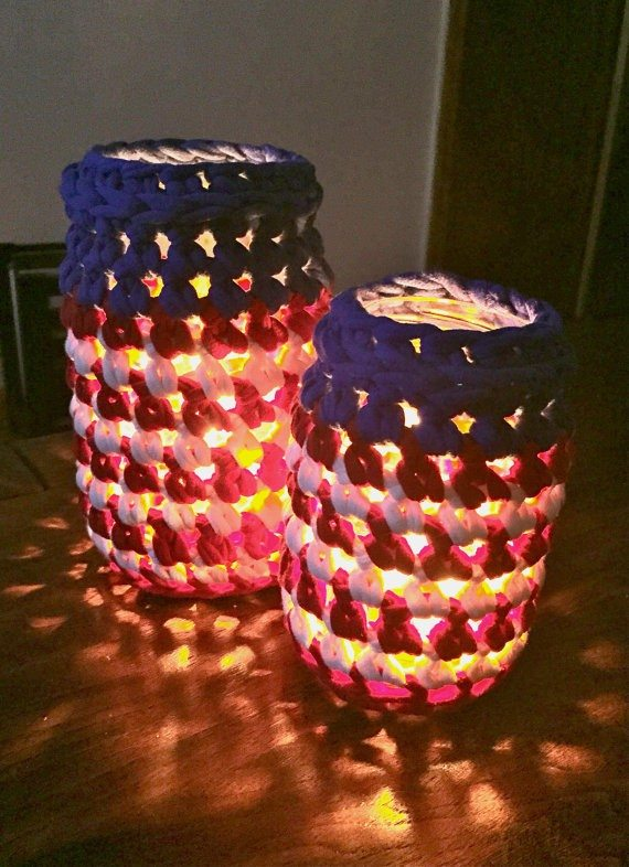 Crocheted 4th of July Jars