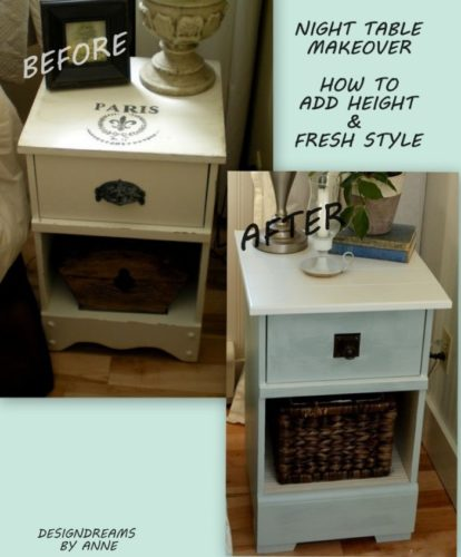 Before and after for this amazing nightstand makeover